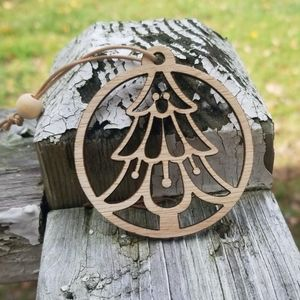 Christmas tree laser cut wooden ornament